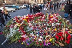 Revolución ucraniana, Euromaidan después de un ataque del gobierno f foto de archivo