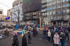 Revolución ucraniana, Euromaidan después de un ataque del gobierno f fotografía de archivo