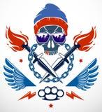 Revolución y emblema o logotipo travieso del alboroto con el cráneo agresivo ilustración del vector
