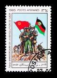 Revolucionários com bandeiras, sétimo aniversário do Sawr Revo Imagens de Stock