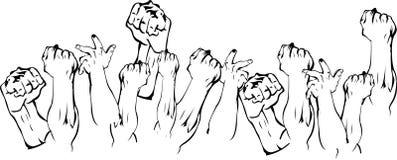 Revolutiehanden omhoog vector illustratie