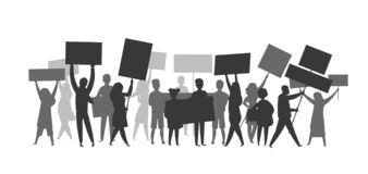 Revolution crowd silhouette. Protest flags propaganda demonstration audience football soccer fans Vector strike people. Revolution crowd silhouette. Protest stock illustration