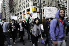 Revolution is Evolution - Occupy Wall St. march Stock Image