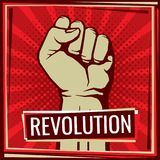 Revolution fight vector poster with worker hand fist raised. Illustration of fist worker, rebel and protest revolution Stock Photos
