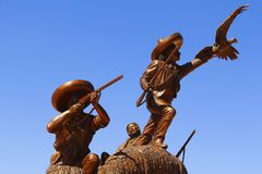 Revolution fighters II. Revolution fighters monument, as part of the zacatecas city, mexico stock photo