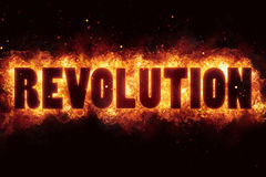 Revolution fire text flame flames burn burning hot explosion Royalty Free Stock Image