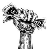 Revolution fist holding money concept Stock Photography