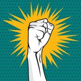 Revolution fist pop art  illustration Royalty Free Stock Photo
