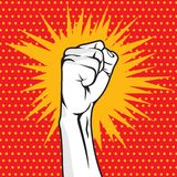 Revolution fist pop art  illustration Stock Photography