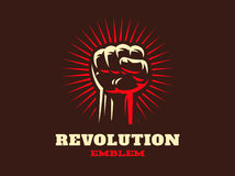 Revolution hend up emblem illustration on dark background Stock Photos