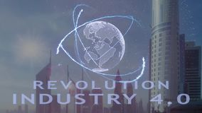 Revolution Industry 4.0 text with 3d hologram of the planet Earth against the backdrop of the modern metropolis vector illustration