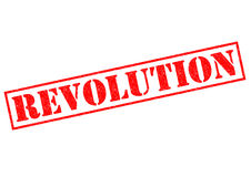 REVOLUTION. Red Rubber Stamp over a white background Royalty Free Stock Photos