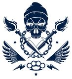 Revolution and Riot wicked emblem or logo with aggressive skull, weapons and different design elements , vector tattoo, anarchy. And chaos, rebel partisan and stock illustration
