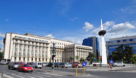 Revolution Square. (Romanian: Piaţa Revoluţiei) is a square in central Bucharest, on Calea Victoriei. The square houses the building of the former Central royalty free stock photo