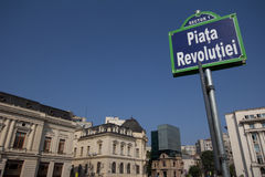 Revolution square, Bucharest, Romania. Street sign of revolution square in center of Bucharest, capital of Romania Royalty Free Stock Photo