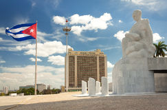 The Revolution Square in Havana. With a waving cuban flag stock images