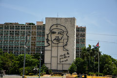 Revolution square, Havana. Ministry of the Interior building with face of Che Guevara located in Revolution Square, Cuba royalty free stock image