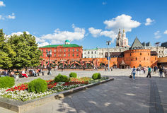 Revolution square, near the Kremlin. Moscow. Moscow, Russia - July 5, 2016: People relax in the historic centre on Theatre (Revolution) square stock photography