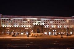 Revolution square at night in Chelyabinsk. stock photo
