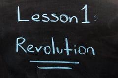 Revolution. Text On The Blackboard stock image