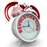 Revolution time. The alarm clock with an inscription. Alarm clock with the red words `REVOLUTION TIME`. 3D Illustration Royalty Free Stock Photos