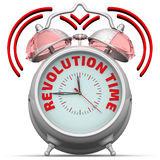 Revolution time. The alarm clock with an inscription. Alarm clock with the red words `REVOLUTION TIME`. 3D Illustration. Isolated Royalty Free Stock Photo