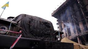 Revolution in Ukraine. Main barricade rebels in Kiev. Revolution in Ukraine stock video footage