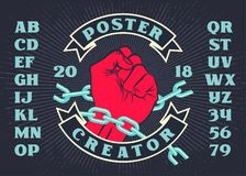 Revolution vintage poster creator with raised hand vector illustration