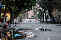 Revolutionaries in Tahrir Square. The check point Stock Photography