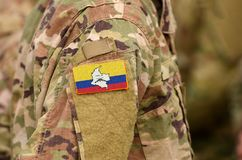 Revolutionary Armed Forces of Colombia flag on soldiers arm. Revolutionary Armed Forces of Colombia - People`s Army collage. Revolutionary Armed Forces of stock images