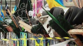 Revolutionary barricade of tyres pine trees bricks metal shields. Stock footage stock video