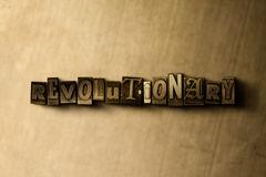 REVOLUTIONARY - close-up of grungy vintage typeset word on metal backdrop. Royalty free stock illustration.  Can be used for online banner ads and direct mail Stock Photo