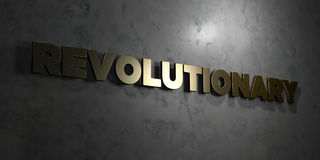 Revolutionary - Gold text on black background - 3D rendered royalty free stock picture. This image can be used for an online website banner ad or a print Royalty Free Stock Image