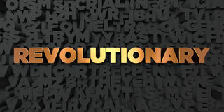 Revolutionary - Gold text on black background - 3D rendered royalty free stock picture. This image can be used for an online website banner ad or a print Royalty Free Stock Photos