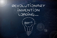 Revolutionary invention loading, lightbulb with progress bar ill Royalty Free Stock Images