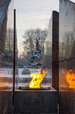 Revolutionary memorial - quenchless flame. At Yakornaya square in Kronshtadt, Saint Petersburg, Russia Royalty Free Stock Photo