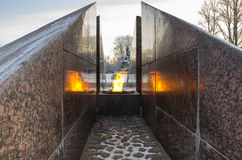 Revolutionary memorial - quenchless flame. At Yakornaya square in Kronshtadt, Saint Petersburg, Russia Stock Images