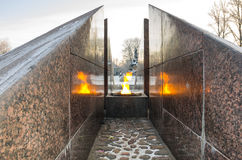 Revolutionary memorial - quenchless flame. At Yakornaya square in Kronshtadt, Saint Petersburg, Russia Royalty Free Stock Image