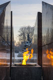 Revolutionary memorial - quenchless flame. At Yakornaya square in Kronshtadt, Saint Petersburg, Russia Royalty Free Stock Photos
