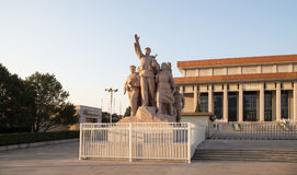 Revolutionary statues at Tiananmen Square in Beijing, China.  Stock Photos