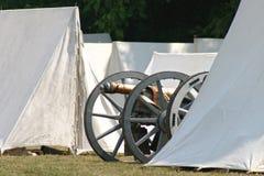 Revolutionary things. Revolutionary canon and tents Royalty Free Stock Photos