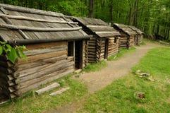 Revolutionary War cabin replicas stock photos