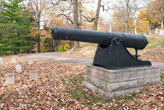 Revolutionary War Cannon in Cemetery Royalty Free Stock Photography