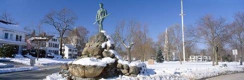 Revolutionary War memorial in winter Stock Image