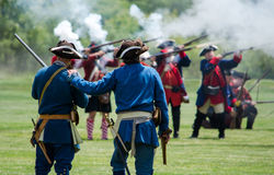 Revolutionary war mock battle cira 1700-1800 Stock Image