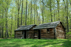 Revolutionary War troop cabins Stock Photos