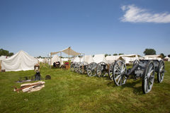 Revolutionary War or War of 1812 Tents, Canons Royalty Free Stock Images