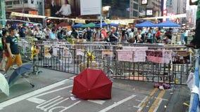 Revolutionen 2014 för det Nathan Road Occupy Mong Kok Hong Kong protestparaplyet upptar centralen Arkivbilder