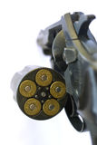 Revolver. Opened, loaded with 45 caliber short bullets Stock Photo