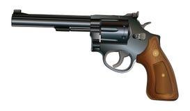 Revolver. Illustration of a revolver style handgun. Black with wood grip royalty free illustration